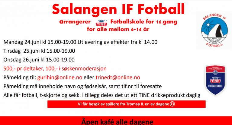 Salangen IF Fotball arrangerer Tine Fotballskole